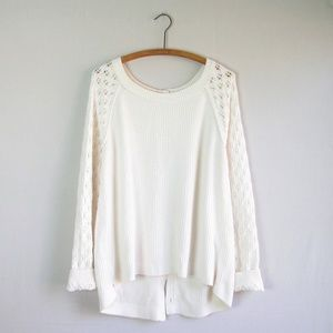 Loft ivory buttoned back cozy sweater